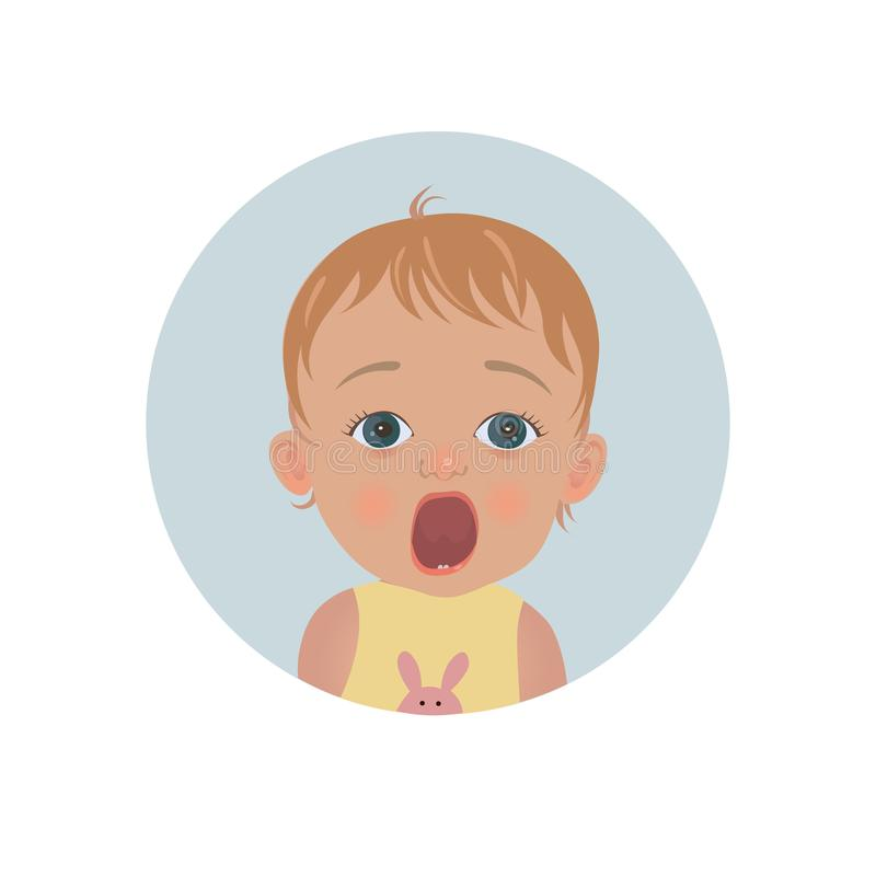 Cute shocked baby emoticon. Scared child emoji. Afraid toddler smiley. Frightened expression. Vector illustration royalty free illustration