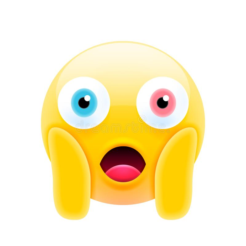 Cute Shocked Emoji with Different Eyes stock illustration