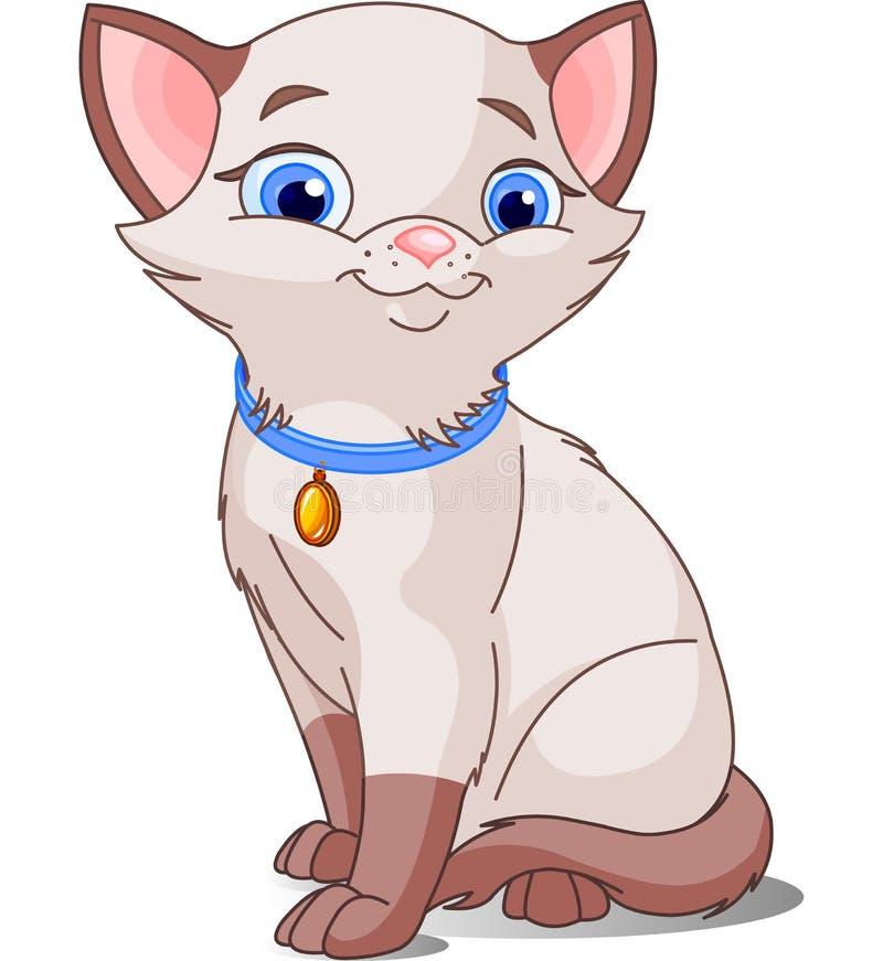 Cute Siamese cat royalty free illustration