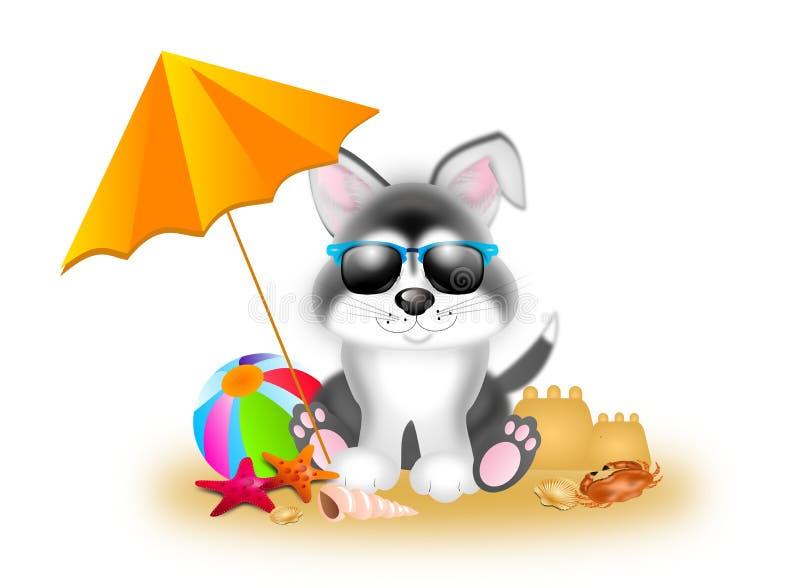 Cute siberian husky in summer stock illustration