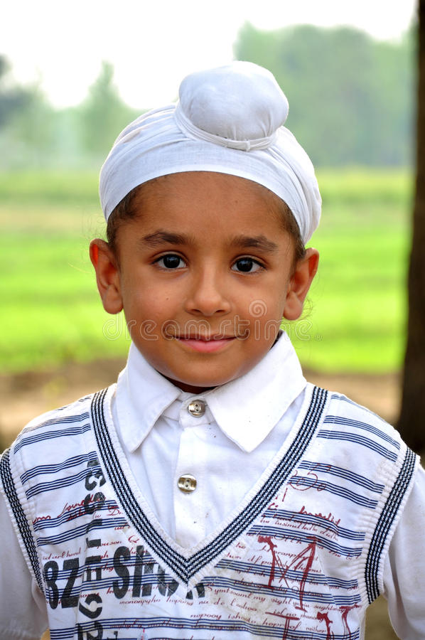 Cute sikh boy stock photo
