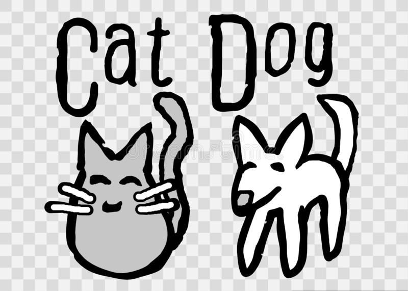 Cute, Simple Cat And Dog Cartoon Illustration stock illustration
