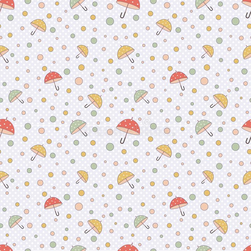 Cute simple seamless pattern in pastel colors with multi-colored polka dots and umbrellas.Vector.The print for the manufacture of vector illustration