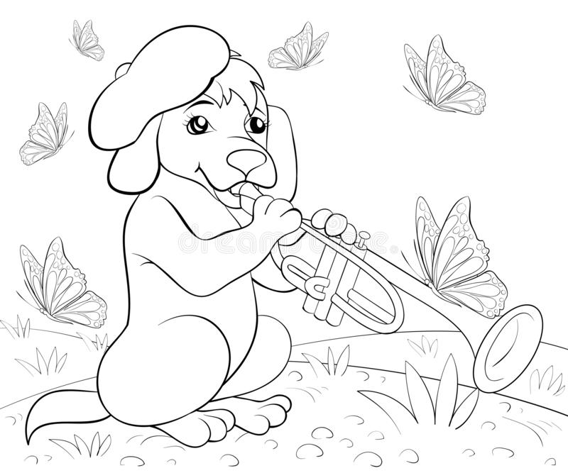 Coloring page,book a cute singing dog image for children,line art style illustration for relaxing. A cute singing dog image for children line art style royalty free illustration