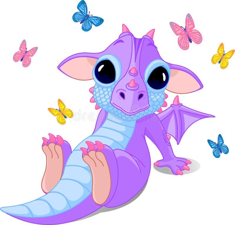 Cute sitting baby dragon royalty free illustration