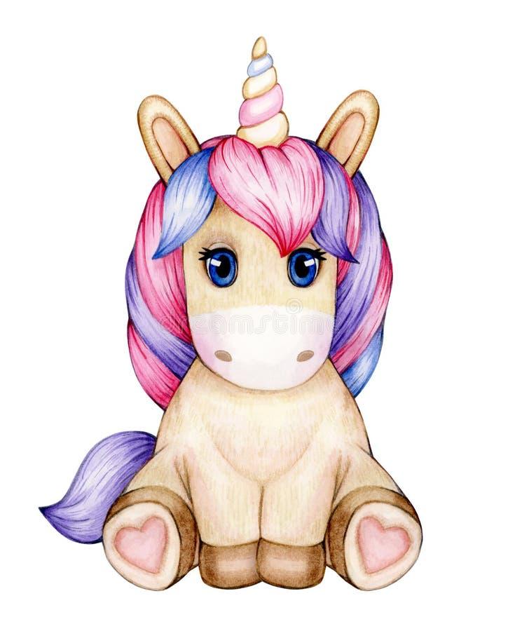 Cute  sitting baby unicorn cartoon. royalty free illustration