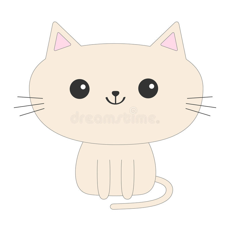 Cute sitting cat icon. Funny cartoon character. Kawaii animal. Tail, whisker, big eyes. Kitty kitten. Baby pet collection. White b. Cute sitting cat icon. Funny royalty free illustration