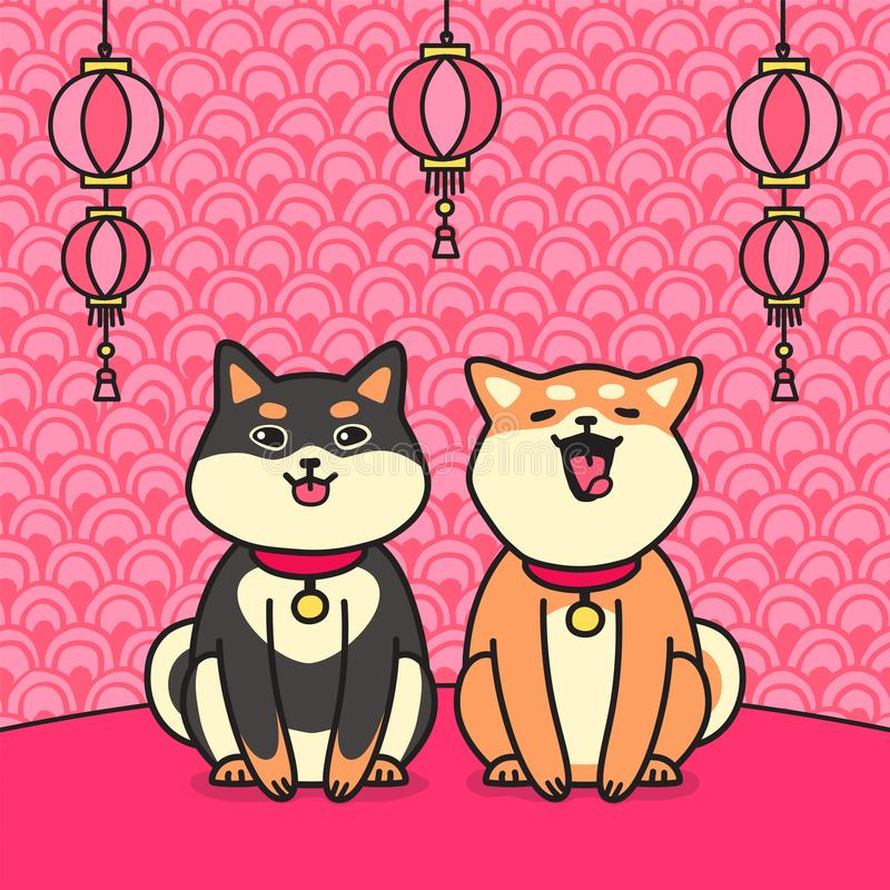 Cute sitting two shiba inu dogs & flashlights vector. vector illustration