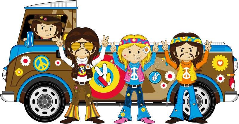 Cute Sixties Flower Power Hippies and Van. Embrace the Flower Power Age of the Sixties with these Super Cute Cartoon Hippies and Camper Van - Vector Illustration royalty free illustration