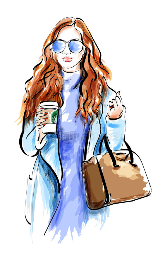 Cute sketch girl with accessories. Fashion lady in sunglasses. royalty free illustration
