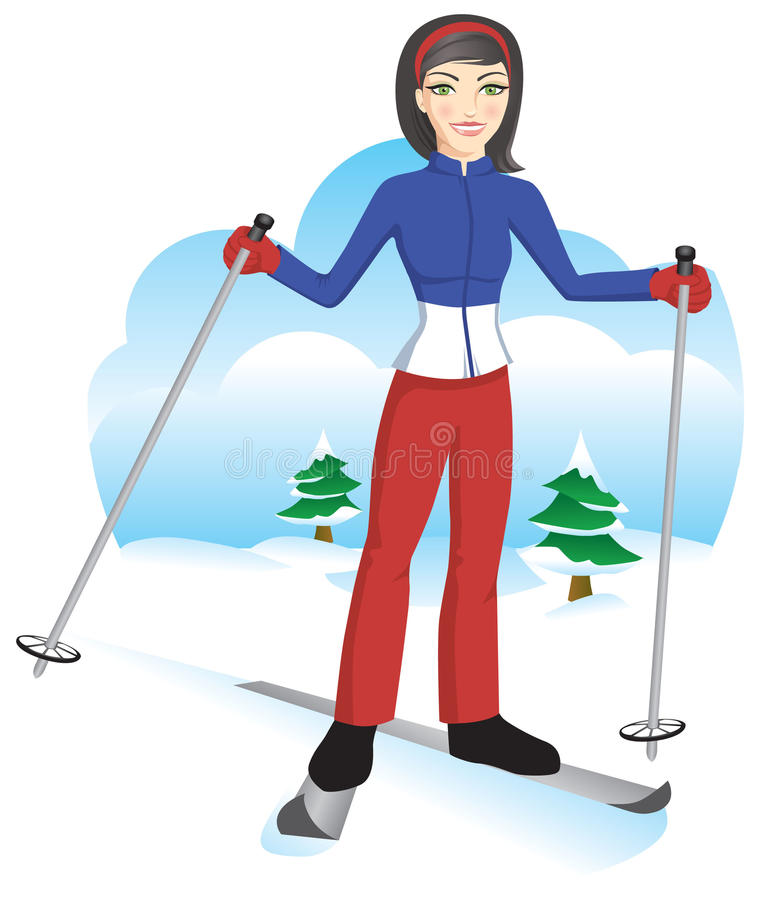 Cute Ski Girl. In blue red and white ski suit royalty free illustration