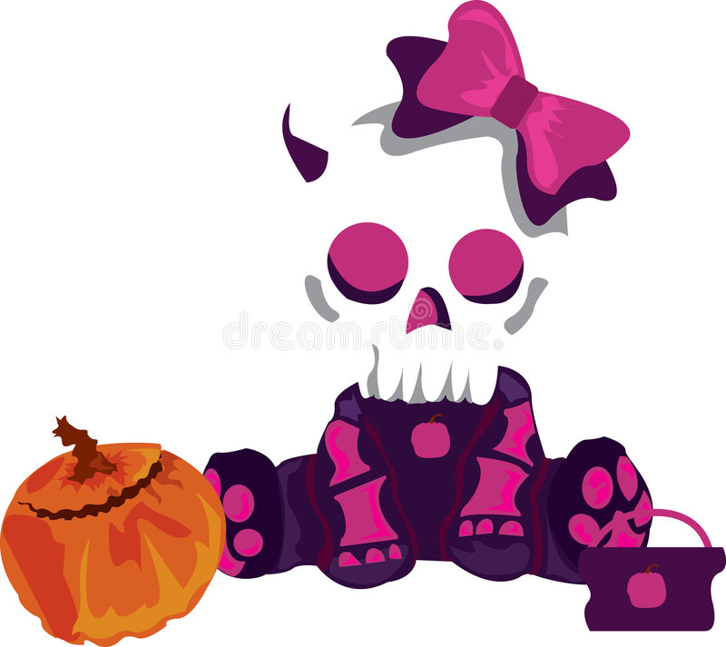 Cute Skull Girl vector illustration