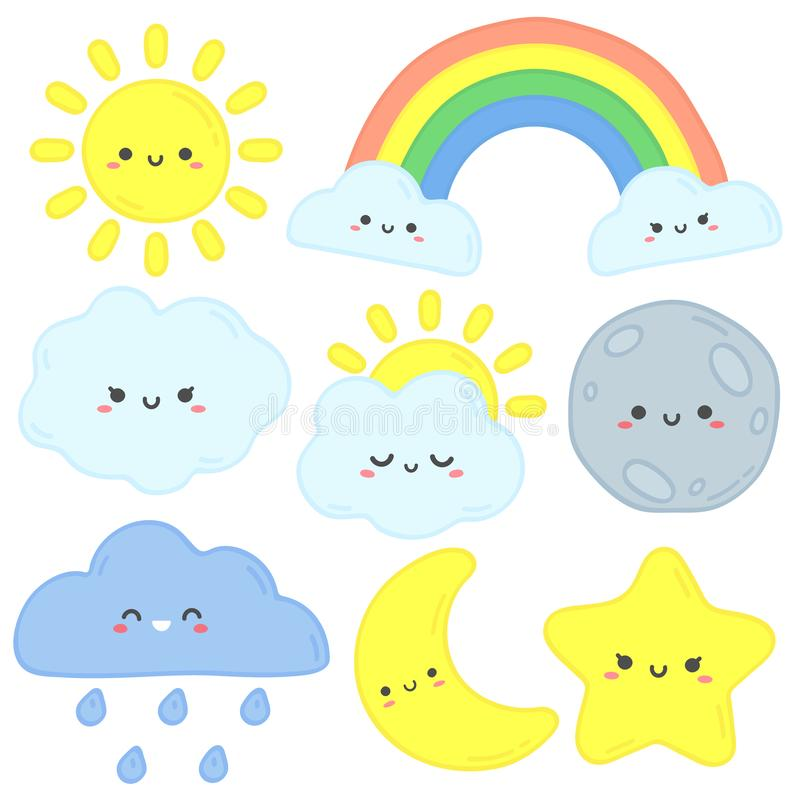 Cute sky. Happy sun, funny moon and hand drawn star. Nursery sleep clouds, baby rainbow and night stars cartoon vector royalty free illustration
