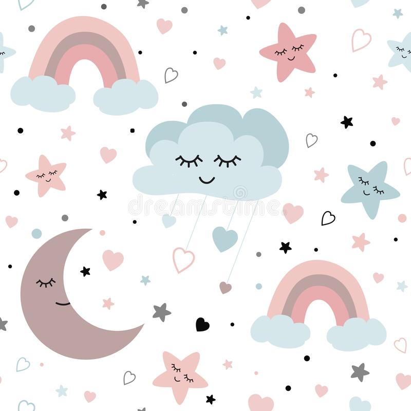 Cute sky seamless pattern Baby vector design with smiling sleeping moon hearts stars rainbow clouds. Baby illustration stock illustration
