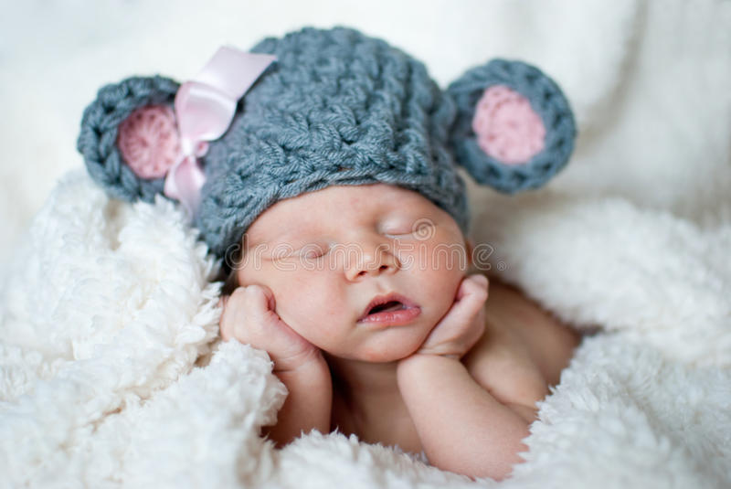 Cute sleeping baby stock image