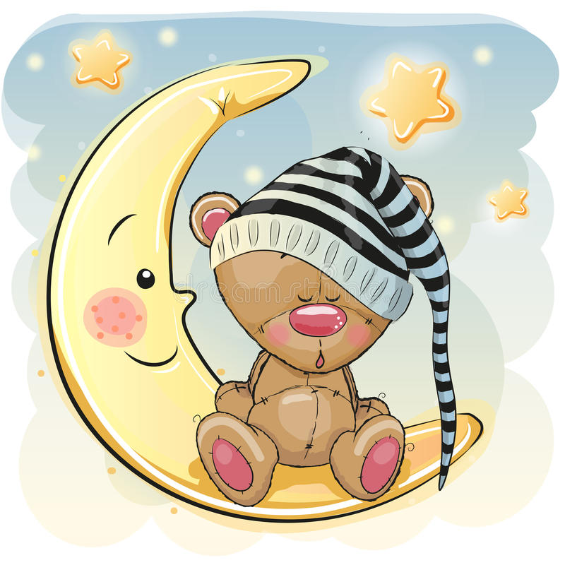 Cute Sleeping Bear. Cute Cartoon Teddy Bear is sleeping on the moon