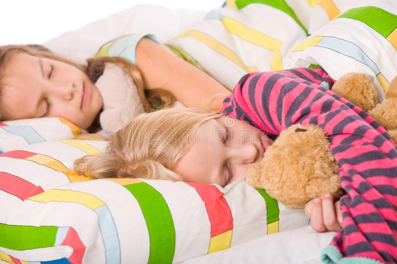 Cute sleeping children stock photography