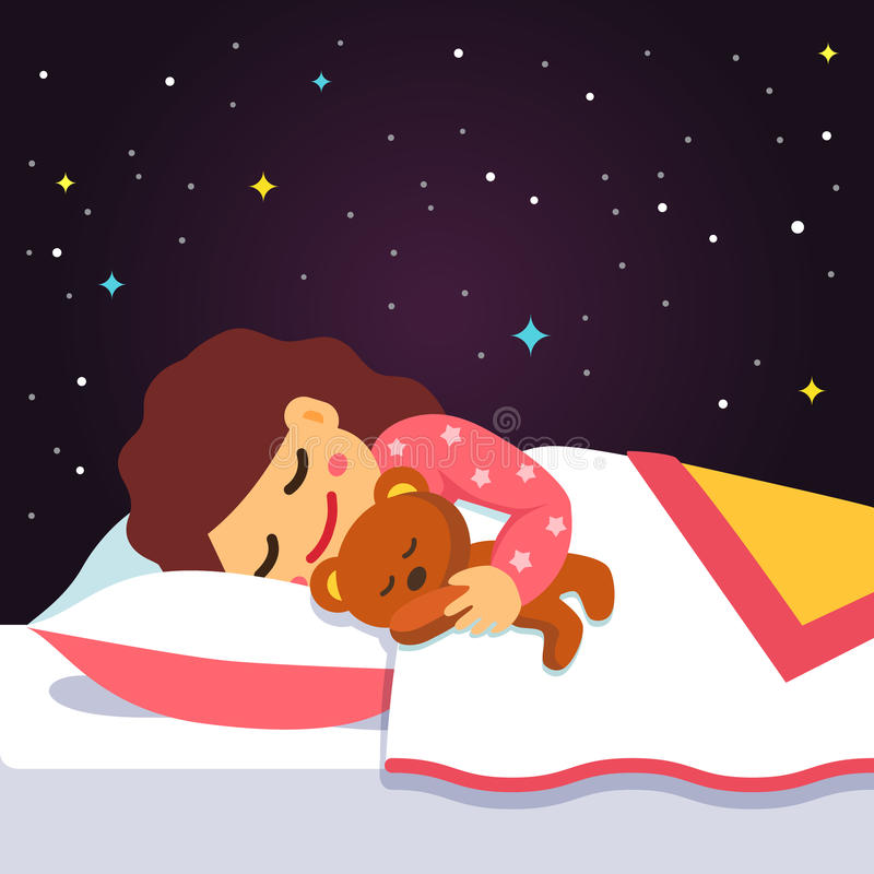 Cute sleeping and dreaming girl with teddy bear stock illustration