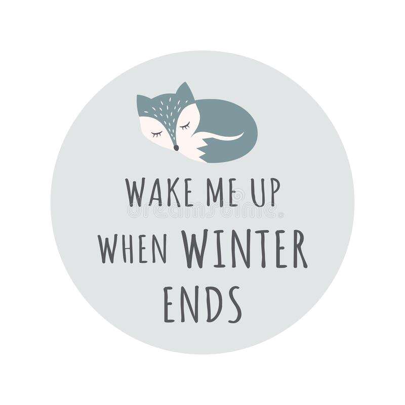 Free Cute Sleeping Fox Colorful Cartoon Character. T Shirt Design With Wake Me Up When Winter Ends Lettering Stock Images - 192459234