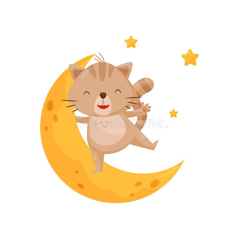 Cute sleeping kitten and moon, lovely animal cartoon character, good night design element, sweet dreams vector vector illustration