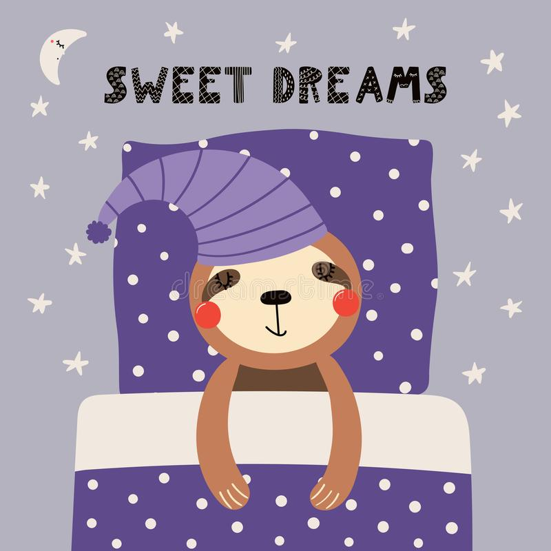 Cute sleeping sloth. Hand drawn vector illustration of a cute funny sleeping sloth in a nightcap, with pillow, blanket, lettering Sweet dreams. Isolated objects stock illustration