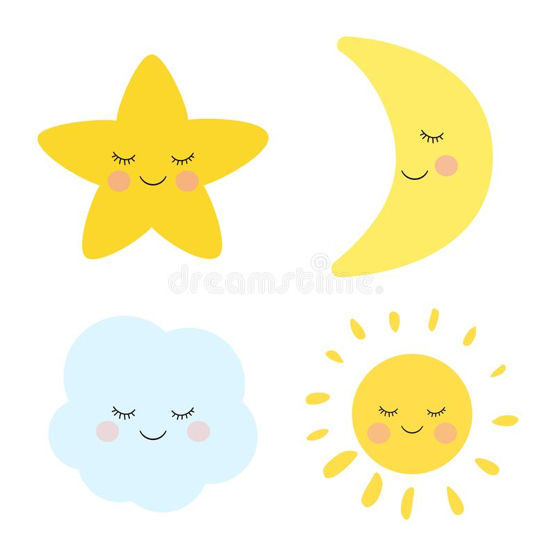 Cute sleeping and smiling little star, moon, cloud and sun. Adorable childish art. stock illustration