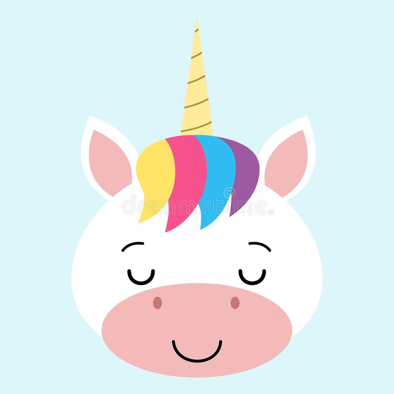 Cute sleeping unicorn face.Vector cartoon character illustration Design for child card , t-shirt. stock illustration