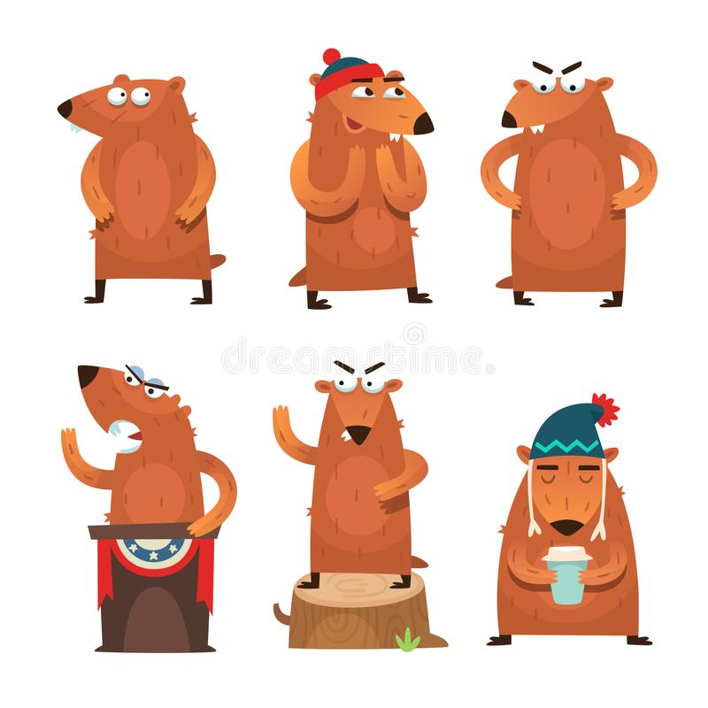 Groundhog day characters vector illustration