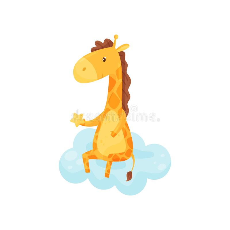 Cute sleepy little giraffe sitting on a cloud, lovely animal cartoon character, good night design element, sweet dreams stock illustration