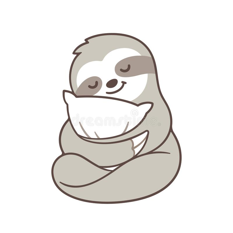 Cute sleepy sloth vector illustration