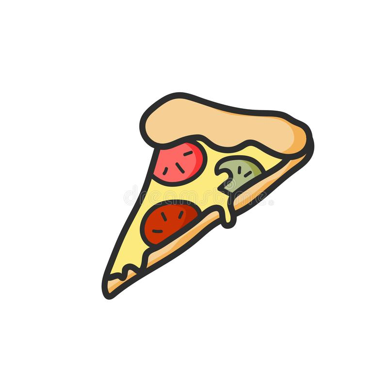 Cute slice of pizza drawing. Junk food. Vector isolated. Illustration. Cute slice of pizza drawing. Vector isolated. Illustration royalty free illustration