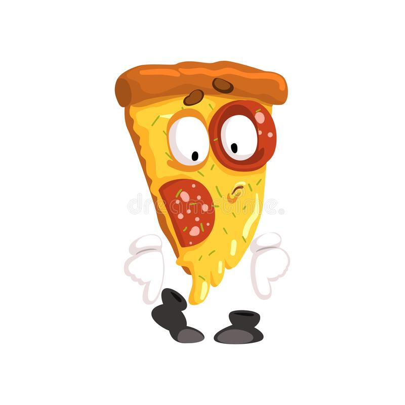 Cute slice of pizza, funny cartoon fast food character vector Illustration on a white background. Cute slice of pizza, funny cartoon fast food character vector stock illustration