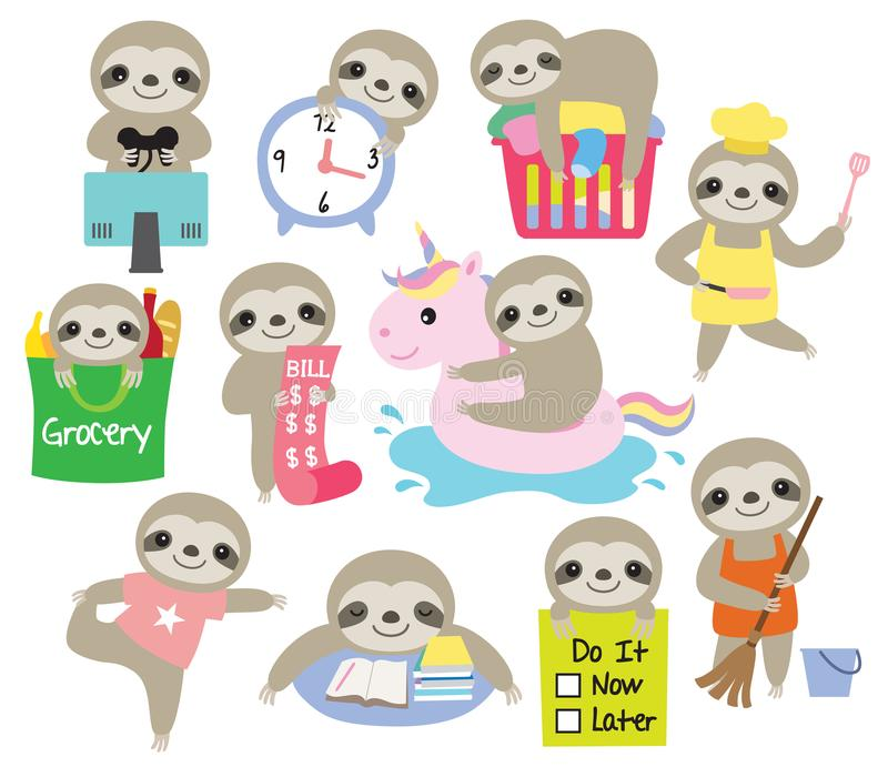 Cute Sloth Daily Activity Planner Vector Illustration. Vector illustration of cute baby sloth with activities such as cooking, cleaning, gaming, studying, doing royalty free illustration