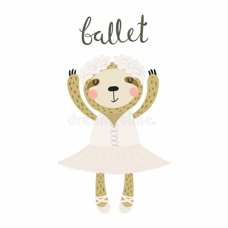 Cute sloth ballerina. Hand drawn vector illustration of a cute funny sloth ballerina in a tutu, pointe shoes, with lettering quote Ballet. Isolated objects royalty free illustration