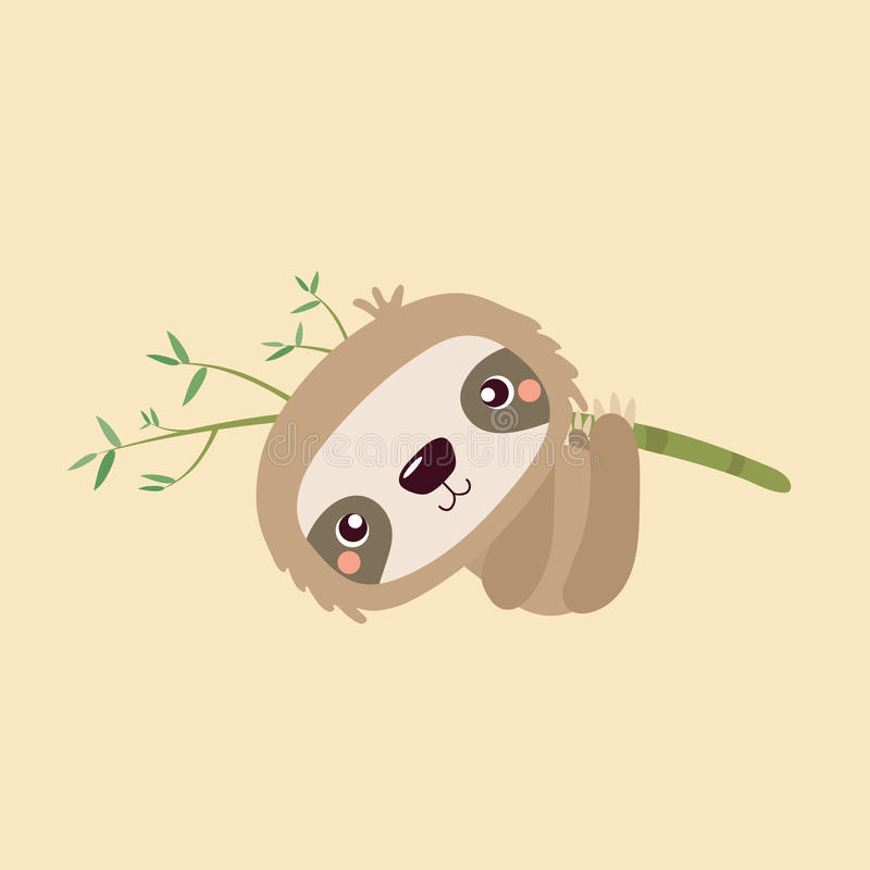 Cute sloth. Cartoon illustration funny and cute sloth vector illustration