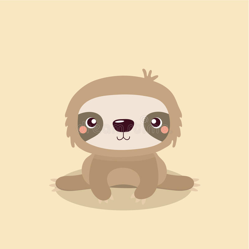 Cute sloth. Cartoon illustration funny and cute sloth stock illustration