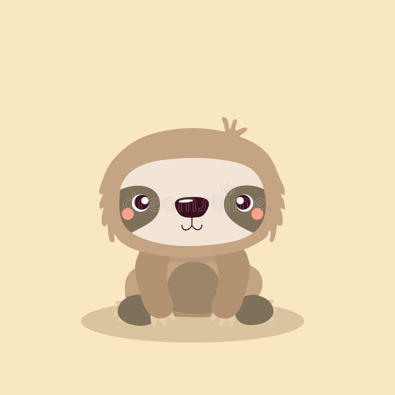 Cute sloth. Cartoon illustration funny and cute sloth stock illustration