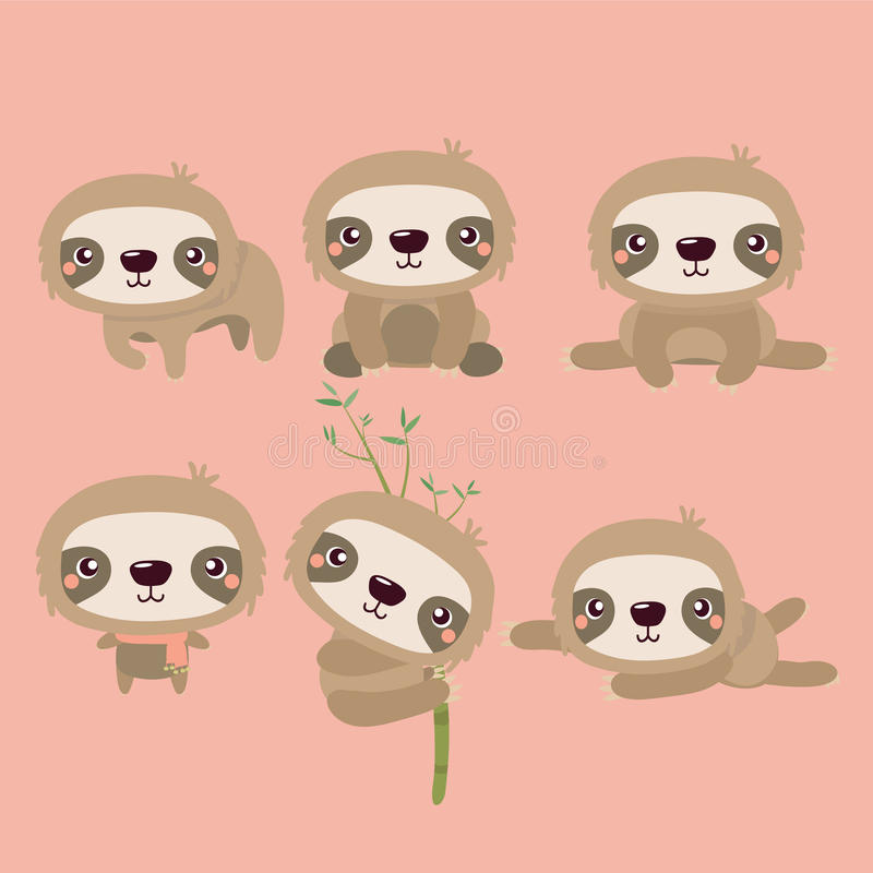 Cute sloth. Cute cartoon smiling lazy sloth animal characters in different positions stock illustration