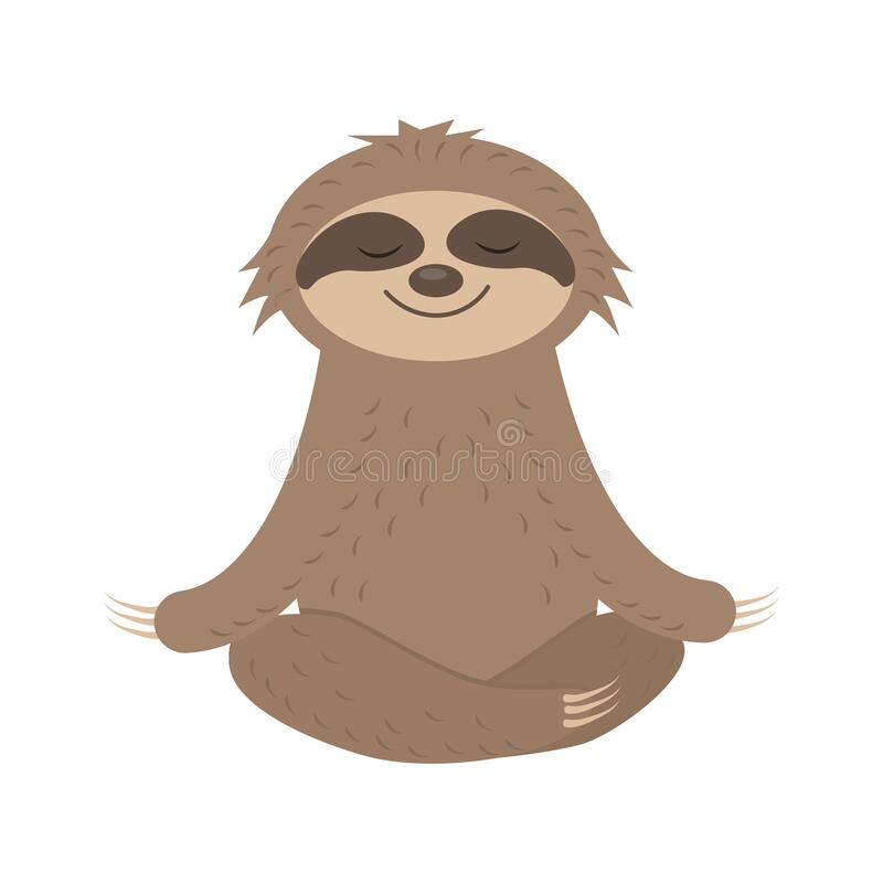 Free Cute Sloth Character Does Yoga, Meditates, Vector Isolated Stock Photos - 214834703