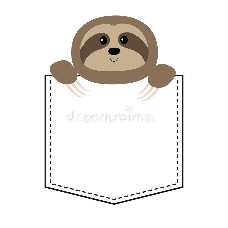 Cute sloth face head in the pocket. Cartoon animals. Lazy character. Dash line. Animal collection. White and black color. T-shirt. Design. Baby background royalty free illustration