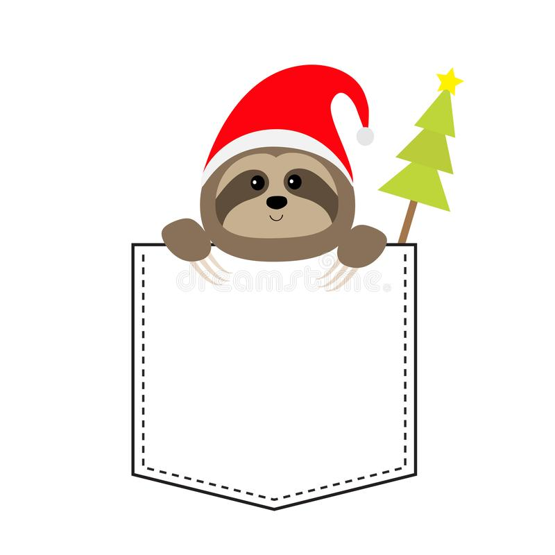 Cute sloth face head in the pocket. Christmas Santa hat. Fir tree. Cartoon animals. Lazy character. Dash line. Animal collection. White black color. T-shirt royalty free illustration