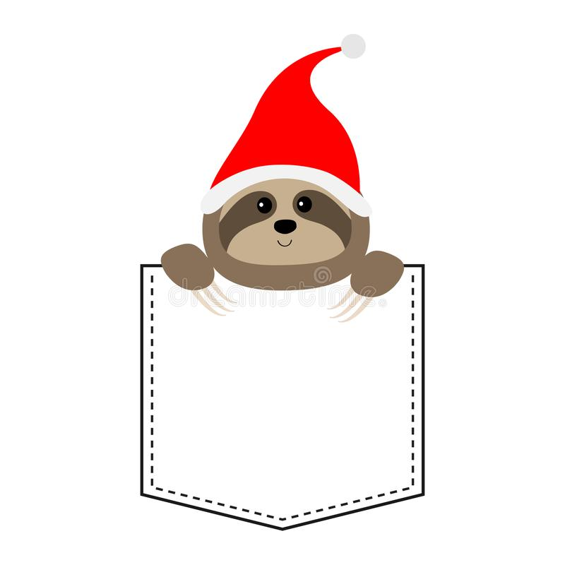 Cute sloth face head in the pocket. Santa hat. Cartoon animals. Lazy character. Dash line. Animal collection. White and black. Color. T-shirt design. Baby royalty free illustration