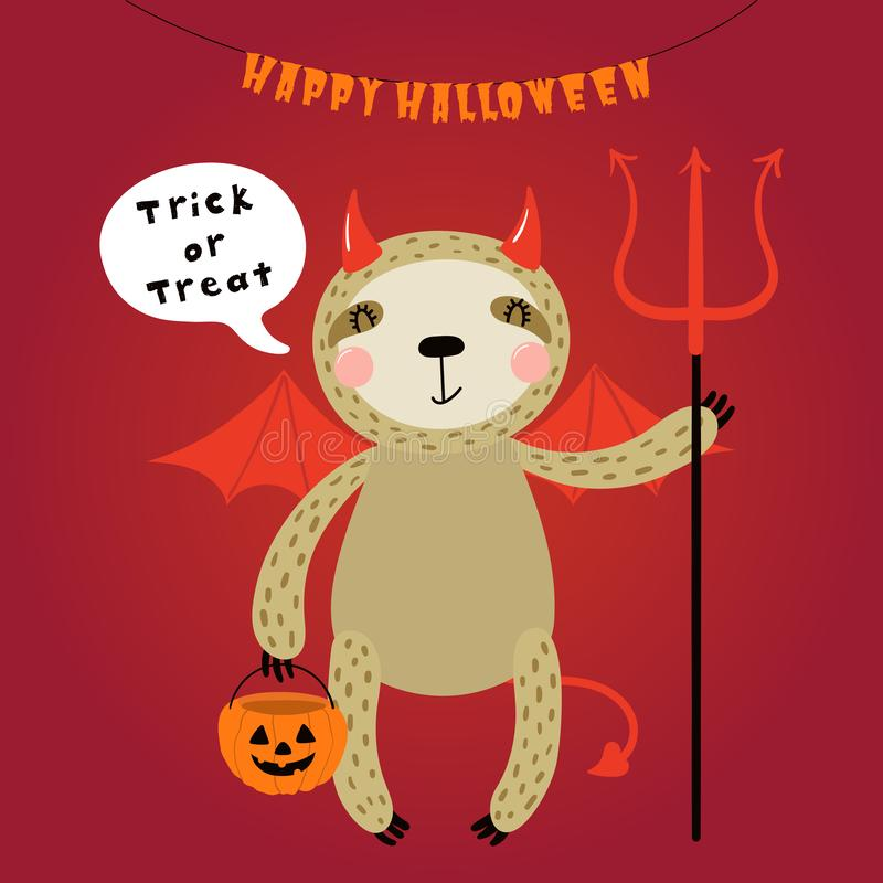Cute sloth in Halloween costume royalty free illustration