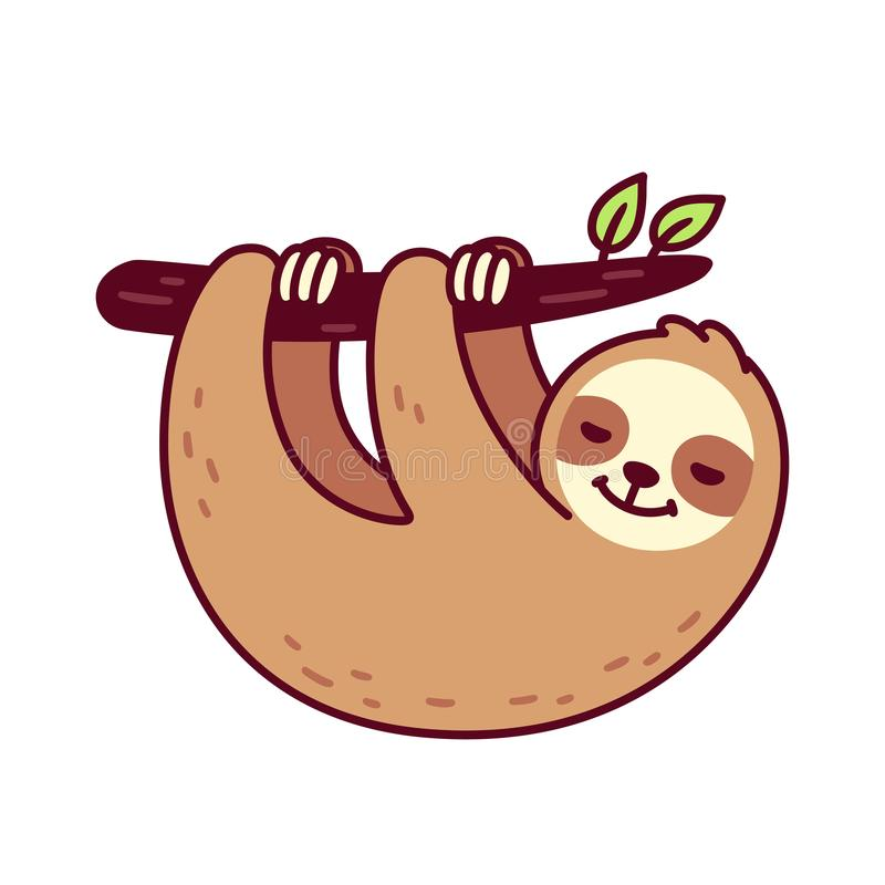 Cute hanging sloth. Cute sloth hanging from tree branch. Funny hand drawn cartoon character vector illustration stock illustration