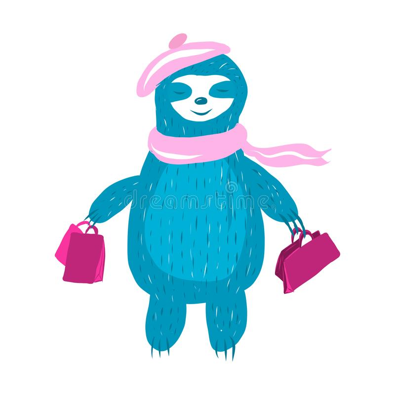 Cute sloth in a pink stock illustration