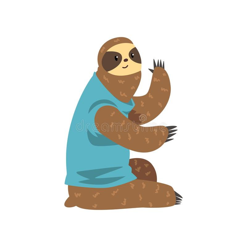 Cute sloth sitting, lazy exotic rainforest animal character vector Illustrations on a white background. Cute sloth sitting, lazy exotic rainforest animal stock illustration