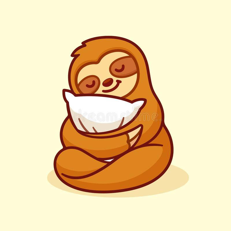 Cute sloth sleeping. With pillow. Adorable cartoon character isolated vector illustration royalty free illustration