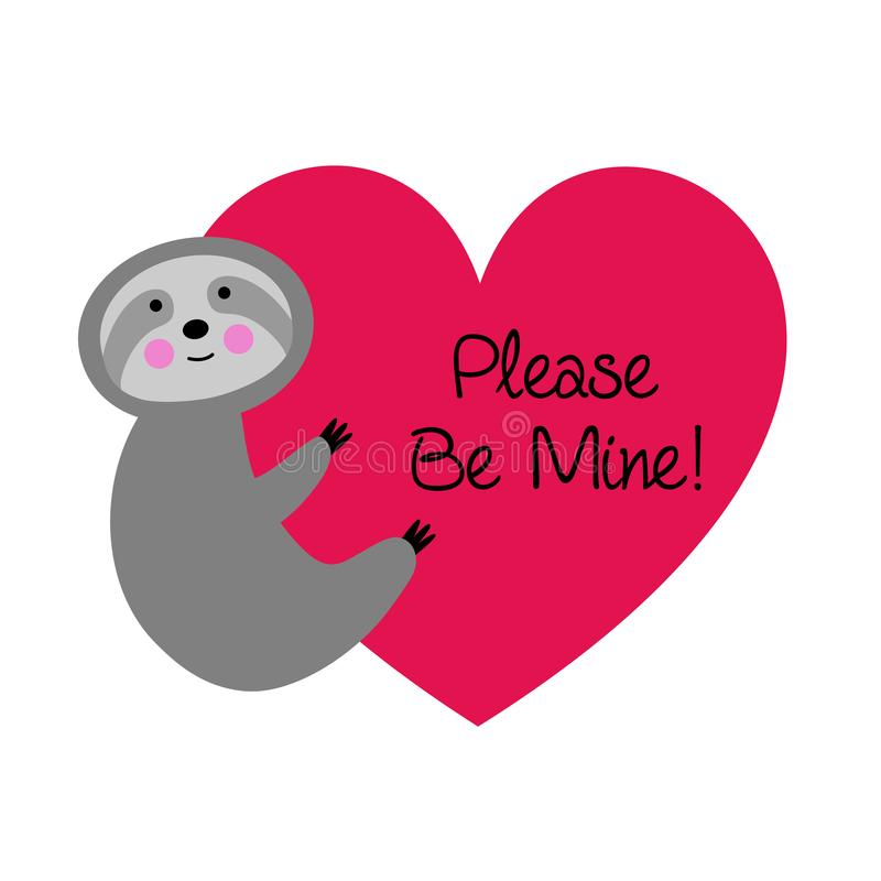 Cute sloth valentine with heart vector illustration