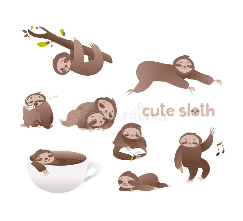 Cute sloth vector illustration set - funny adorable lazy sleepy animal in various actions. Cute sloth vector illustration set - funny adorable lazy sleepy vector illustration