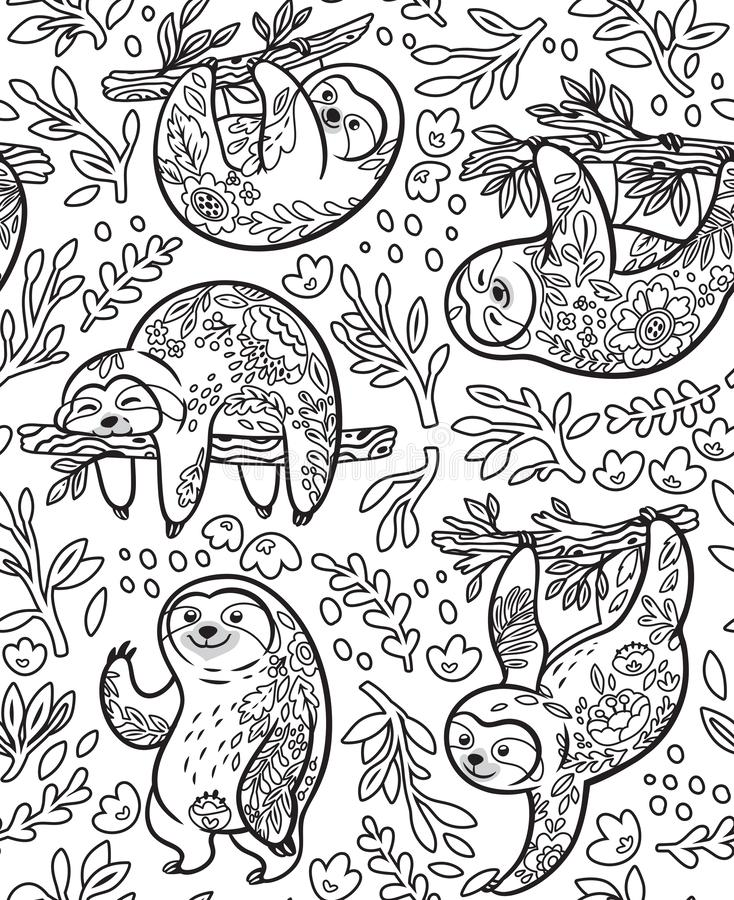 Cute sloths with floral ornament in outline. Vector seamless pattern stock illustration